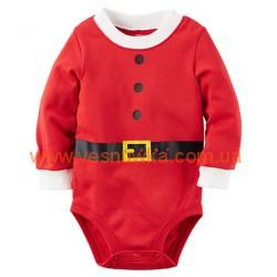 """Бодик  """"Маленький Санта""""  Carters красного цвета, , 10410427, CARTERS, Бодики"""