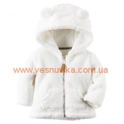 Кофта-курточка теплая  белая с кармашками Carters , , 10710717, CARTERS, Кофты и флиски