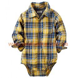 Бодик-рубашка  Carters в желтую клетку , , 11411494, CARTERS, Бодики