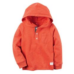 Кофта котоновая с капюшоном оранжевая Carters , , 11711721, CARTERS, Регланы