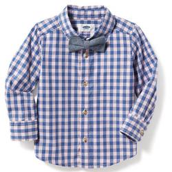 Котоновая рубашка в голубую клетку OldNavy с бабочкой, , 1320051, Old Navy, Рубашки и футболки