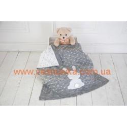 """Вязаный плед для новорожденных """"Ушастый мечтатель"""" серый MagBaby, , 919111, MagBaby (Украина), Конверты, одеяла, пледы"""