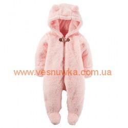 Флисовый слип человечек «Розовая Мишутка» Carters, , 939324, CARTERS, Верхняя одежда, зимние комбинезоны
