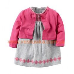 """Набор 2в1 платье с кардиганом  """"Розовое с орнаментом"""", , 949437, CARTERS, Платья и юбки"""