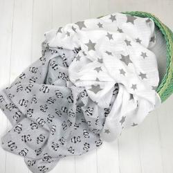 """Пеленки муслиновые Plamka 2в1 """"Панда"""" серые, , 1240000332-4, Plamka (Poland), Пеленки и полотенца"""