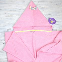 "Полотенце с капюшоном ""Happy time""розовое с бантиком, , 1240026_65, Plamka (Poland), Полотенца"