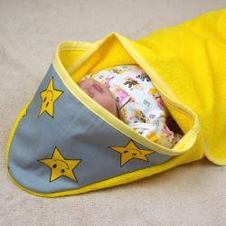 "Полотенце уголок после купания  ""Star"" желтое, , 1240026_4, Plamka (Poland), Пеленки и полотенца"