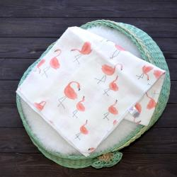 """Пеленка муслиновая (бамбук) Plamka """"Фламинго"""", , 1240000332-9, Plamka (Poland), Пеленки фланелевые и муслиновые"""