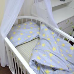 """Комплект постельного белья """"Звездочки"""" (серо-желтые) Plamka, , 124001_00325, Plamka (Poland), Пеленки и полотенца"""
