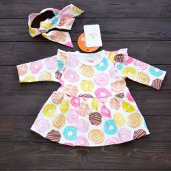 """Платье для малышки в комплекте с солохой (длинный рукав) """"Пончики"""" Plamka (Poland), , 1240053_1, Plamka (Poland), Платья"""