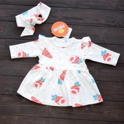 """Платье для малышки в комплекте с солохой (длинный рукав) """"Морковки"""" Plamka (Poland)"""