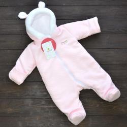 Стеганный двухслойный комбинезон на меху «Teddy Bear» розовый Plamka