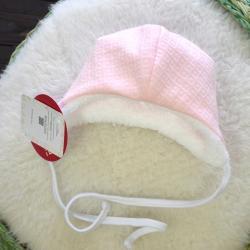 """Cтеганная теплая шапочка  на меху """"Teddy Bear"""" розовая Plamka (Poland)"""