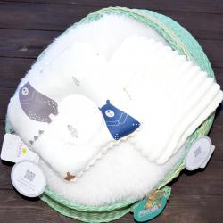 """Ортопедическая двусторонняя подушка для новорожденных """"Мишки"""" молочный плюш Plamka (Poland), , 1240017, Plamka (Poland), Подушки ортопедические"""