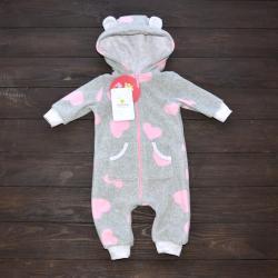 """Флисовый человечек  """"Bear"""" розовые сердечки  Plamka (Poland), , 1240062_326, Plamka (Poland), Человечки/слипы"""