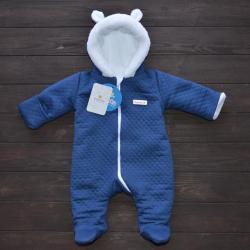 Стеганный двухслойный комбинезон на меху «Teddy Bear» темно-синий Plamka