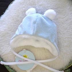 "Теплая шапочка ""Happy"" голубая Plamka (Poland), , 1240075_312, Plamka (Poland), Аксессуары"
