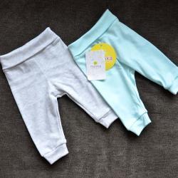 """Набор с 2 пар штанишек с мягкой резинкой """"Ментол и  серый меланж"""" Plamka, , 00000350, Plamka (Poland), Штанишки и ползунки"""