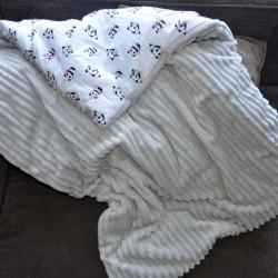 "Плед теплый ""Шарпей"" на выписку/для прогулок светло-серый (панды) Plamka (Poland), , 00000556, Plamka (Poland), Пледы для малышей"