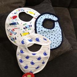 """Набор непромокаемых слюнявчиков  Plamka 3в1 """"Киты, звезды, самолетики"""", , 00000670, Plamka (Poland), Детский текстиль"""