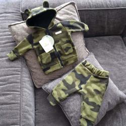 """Флисовый костюм 2в1  """"Vest set"""" камуфляж зеленый Plamka (Poland), , 00000721, Plamka (Poland), Наборы для малышей"""