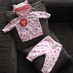 """Флисовый костюм 2в1  """"Vest set"""" сердечки Plamka (Poland), , 00000723, Plamka (Poland), Наборы для малышей"""