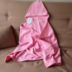 "Полотенце с капюшоном  ""Kids"" розовое с шнуровкой ""Plamka"""