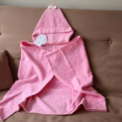 """Полотенце с капюшоном  """"Kids"""" розовое с бантиком """"Plamka"""""""