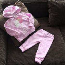 """Флисовый костюм 2в1  """"Vest set"""" горох на розовом Plamka (Poland), , 00000834, Plamka (Poland), Наборы для малышей"""