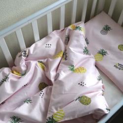 """Набор постельного белья в кроватку  """"Sweet dreams"""" ананасики на розовом Plamka, , 00000852, Plamka (Poland), Постельное белье"""