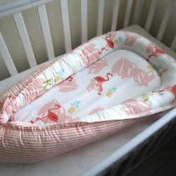 """Гнездышко для малыша Babynest """"Фламинго"""", с кокосовым матрасиком Plamka (Poland), , 00000863, Plamka (Poland), Позиционеры -гнездышка для сна"""