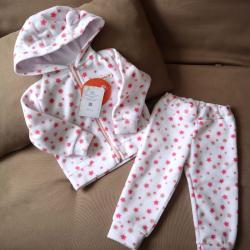 """Флисовый костюм 2в1  """"Vest set"""" камуфляж розовые звездочки Plamka (Poland), , 00000867, Plamka (Poland), Наборы для малышей"""