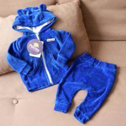 """Велюровый набор 2в1  """"Spring set"""" синий Plamka (Poland), , 00000941, Plamka (Poland), Наборы для малышей"""