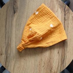 Косынка-бандана муслиновая 42-54 Plamka,  сердечки горчица, , 00000962, Plamka (Poland), Шапочки