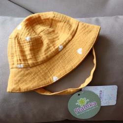 Муслиновая детская панама  'Сердечки горчица' Plamka, , 00000974, Plamka (Poland), Детская одежда