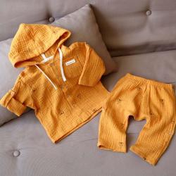 "Набор рубашка и штаны муслиновый  ""Вигвам горчица"" Plamka (Poland), , 00001013, Plamka (Poland), Шорты и футболки"