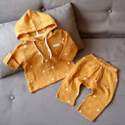 """Набор рубашка и штаны муслиновый  """"Сердечка на горчице"""" Plamka (Poland), , 00001010, Plamka (Poland), Шорты и футболки"""