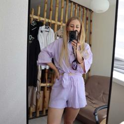 "Набор муслиновый шорты и рубашка ""Air"" пурпур Plamka (Poland), , 00002030, Plamka (Poland), Наборы"