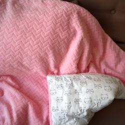 """Плед теплый """"Колосок"""" на выписку/для прогулок розовый (котики) Plamka (Poland), , 00001040, Plamka (Poland), Пледы для малышей"""