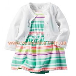 """Набор 2в1 платье с кардиганом  """"Голубые полосочки"""", , 616202, CARTERS, Платья и юбки"""
