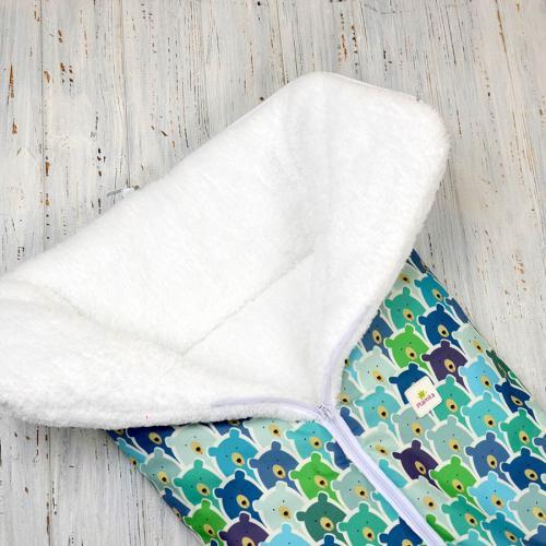 """Зимний Конверт-трансформер """"Мишки"""" (сине-зеленые) на сильные морозы Plamka (Poland)"""