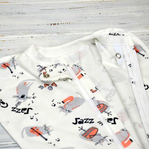"Евро пеленка кокон на молнии c шапочкой ""Jazz Cats"" Plamka (Poland)"