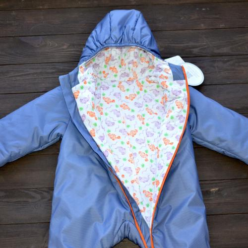 "Демисезонный комбинезон  ""LITTLE SWEET HEART"" синие (дино) 12,18,24м , от -5 до +15 Plamka (Poland)"