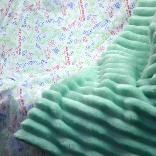 "Плед без утеплителя ""Шарпей"" на выписку/для прогулок ментол Plamka (Poland)"