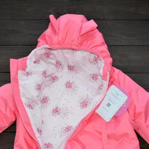 "Демисезонный комбинезон  ""LITTLE SWEET HEART"" розовый (цветы), от -5 до  15 Plamka (Poland)"