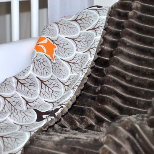 "Плед без утеплителя ""Шарпей"" на выписку/для прогулок шоколад,лисички Plamka (Poland)"