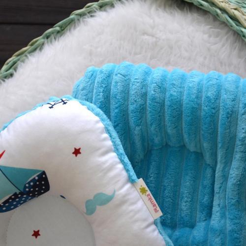 """Ортопедическая двусторонняя подушка для новорожденных """"Кораблики"""" синий плюш Plamka (Poland)"""
