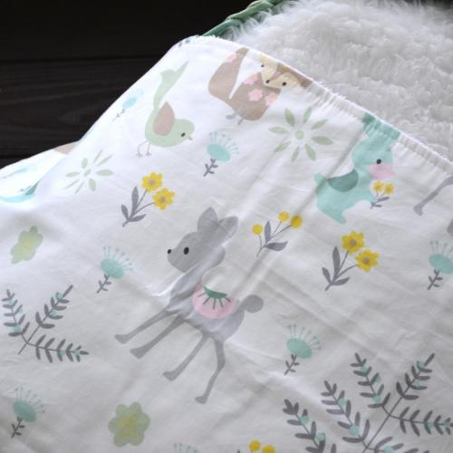 """Непромокаемая хлопковая пеленка """"Лисички и бемби в лесу"""" Plamka (Poland)"""
