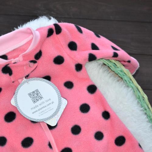 """Флисовый человечек слип без капюшона  """"Dreams"""" розовый в горох  Plamka (Poland)"""