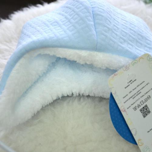 "Cтеганная теплая шапочка  на меху ""Teddy Bear"" голубая Plamka (Poland)"